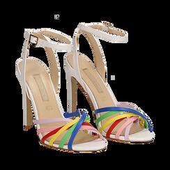 Sandali multilistino bianchi in eco-pelle effetto rainbow, tacco 11 cm, Scarpe, 132120686EPBIAN035, 002a
