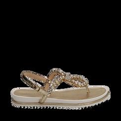 Sandali infradito oro laminato con pietre , Chaussures, 154950098LMOROG036, 001a