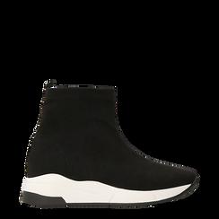 Sneakers trainer nere con suola super light, 129367111MFNERO036, 001a