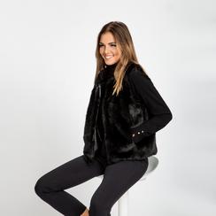 Smanicato eco-fur nero, Abbigliamento, 12B400302FUNERO, 002 preview