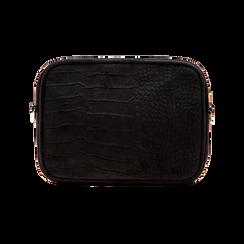 Borsa a tracolla nera in velluto, Borse, 125921068VLNEROUNI, 002 preview