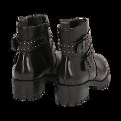 Biker boots con fibbie e borchie neri in eco-pelle, tacco 4,5 cm , Scarpe, 143069629EPNERO036, 004 preview