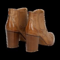 Ankle boots in pelle cuoio con banda elastica e tacco in legno 7,5 cm, Scarpe, 137725908PECUOI036, 004 preview
