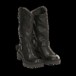 Biker boots neri in pelle con doppia  fibbia, Stivaletti, 147200826PENERO035, 002a