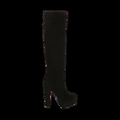 Overknee con plateau neri in microfibra, tacco 13,5 cm , Stivali, 142103015MFNERO035, 001a