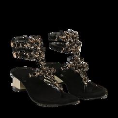 Sandali gioiello infradito neri in microfibra, tacco 6 cm, Primadonna, 134986238MFNERO035, 002a