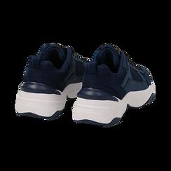 Dad shoes blu in microfibra, zeppa 4,50 cm, Sneakers, 142619462MFBLUE036, 004 preview