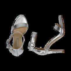 Sandali argento in laminato, tacco stiletto 10 cm , Primadonna, 132127405LMARGE037, 003 preview