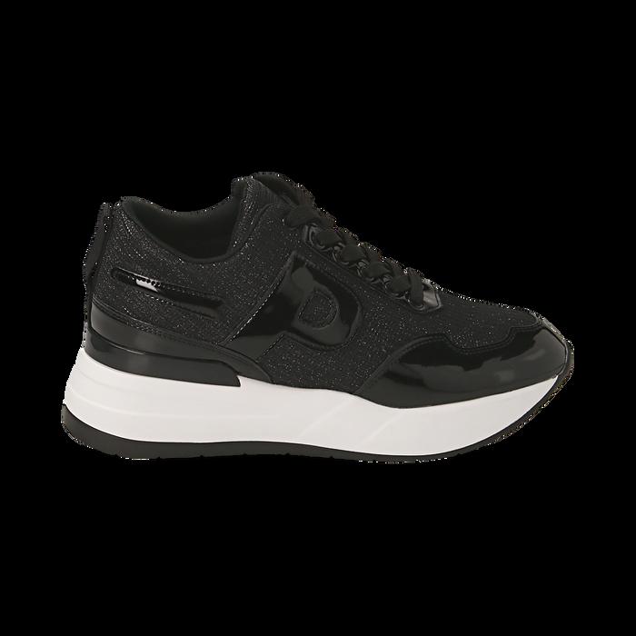 Sneakers nere glitter, suola 5,50 cm , Scarpe, 142898982GLNERO035