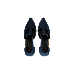 Décolleté blu scamosciate con cinturino a T, tacco 5 cm, Scarpe, 124820729MFBLUE, 004 preview