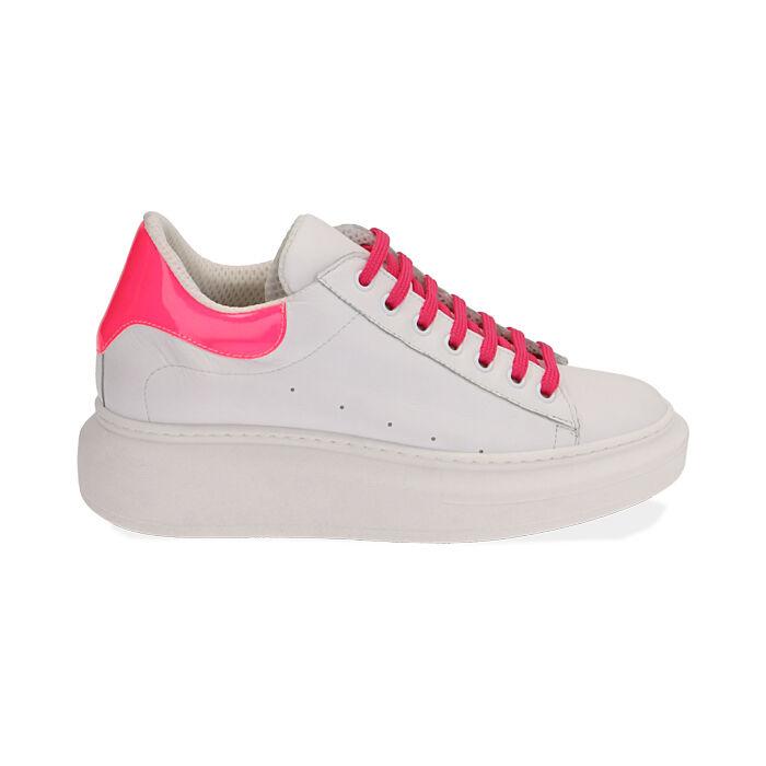 Sneakers bianco/fuxia in pelle, Primadonna, 17L600102PEBIFU035