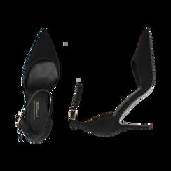 Décolleté nere in microfibra, tacco stiletto 9 cm , Scarpe, 142110617MFNERO035, 003 preview