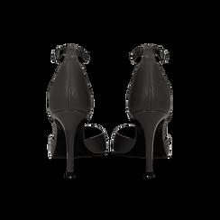 Décolleté nere in vera pelle con cinturino sottile, tacco 7 cm, Primadonna, 12D617311VINERO035, 003 preview