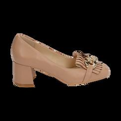 Mocasines en ecopiel con flecos y maxi-cadena color beige, tacón 6 cm, Zapatos, 152186582EPNUDE036, 001 preview