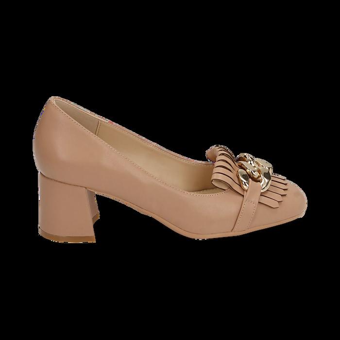Mocasines en ecopiel con flecos y maxi-cadena color beige, tacón 6 cm, Zapatos, 152186582EPNUDE036