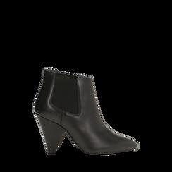 Chelsea Boots neri in vera pelle, tacco a cono 9 cm, Primadonna, 12D613910VINERO035, 001a