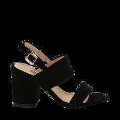 Sandali neri in microfibra con doppia fascia, tacco quadrato 9 cm, Scarpe, 132177304MFNERO035, 001a