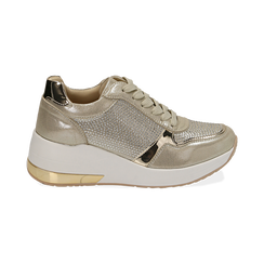 Sneakers en laminado con cuña color dorado , Zapatos, 152802472LMOROG037, 001 preview