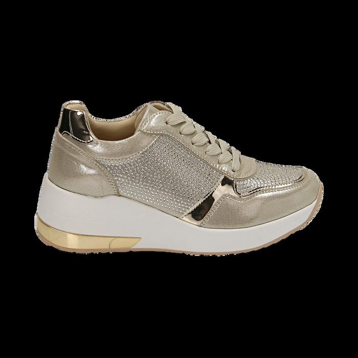 Sneakers en laminado con cuña color dorado , Zapatos, 152802472LMOROG037
