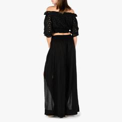 Pantaloni neri in tessuto paisley print, Primadonna, 150500269TSNEROUNI, 002a