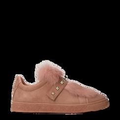Sneakers rosa nude slip-on con dettagli faux-fur e borchie, Scarpe, 129300023MFNUDE, 001a