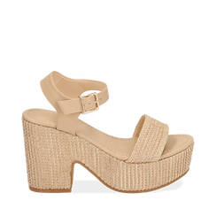 Sandali beige in rafia, tacco-zeppa 10 cm , Zapatos, 154955172RFBEIG036, 001a