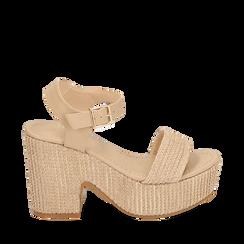 Sandali beige in rafia, tacco-zeppa 10 cm , Chaussures, 154955172RFBEIG036, 001a