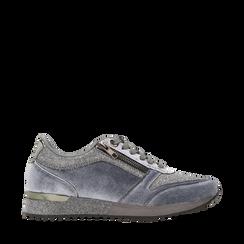 Sneakers grigie velluto e dettagli metal, 120127903VLGRIG036, 001a