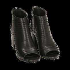 Botines open toe en eco piel perforada color negro, tacón 7 cm, Zapatos, 150726931EPNERO036, 002 preview