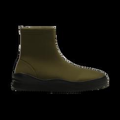 Sneakers verdi in lycra a calza con suola in gomma, Scarpe, 121740405LYVERD, 001 preview
