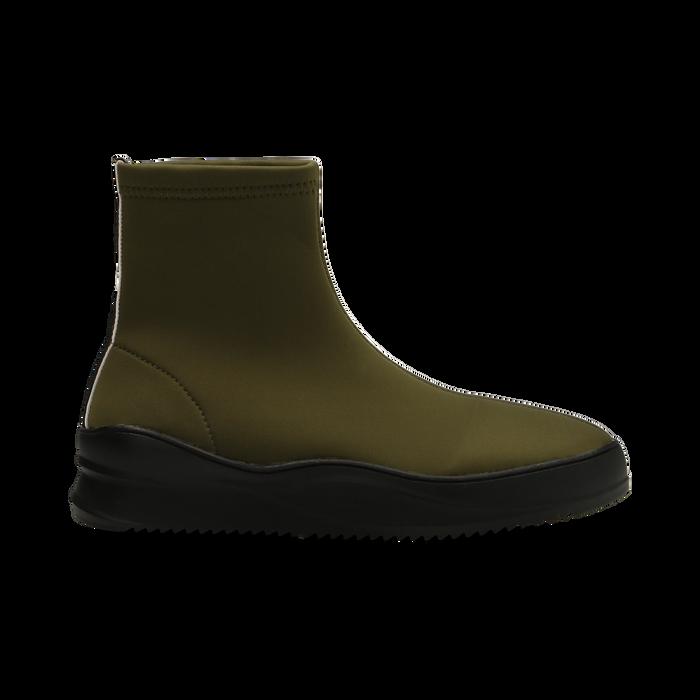 Sneakers verdi in lycra a calza con suola in gomma, Scarpe, 121740405LYVERD