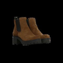 Chelsea Boots cuoio in vero camoscio, tacco medio 5,5 cm, Primadonna, 127723509CMCUOI040, 002 preview