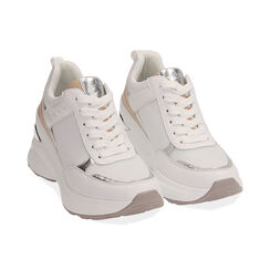 Sneakers bianche, zeppa 9 cm , Scarpe, 172892138EPBIAN037, 002 preview