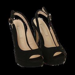 Escarpins noir en microfibre à bout ouvert, talon 12 cm , Chaussures, 152182185MFNERO038, 002 preview