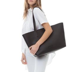 Maxi-bag nera in eco-pelle con manici in tinta,