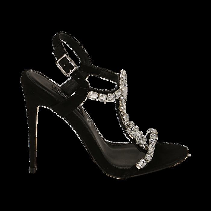 Sandalias gioiello en microfibra color negro, tacón 11,50 cm , OPORTUNIDADES, 152131530MFNERO036