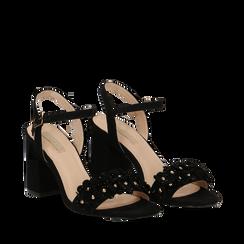 Sandali neri in microfibra con fiori, tacco 8,50 cm, Scarpe, 134911371MFNERO035, 002a