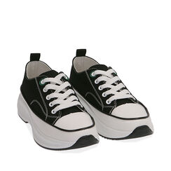 Sneakers chunky nere in canvas, Primadonna, 17K910193CANERO035, 002a