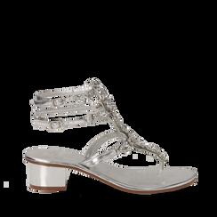 Sandali gioiello infradito argento in laminato, tacco 6 cm, Primadonna, 134986238LMARGE036, 001a