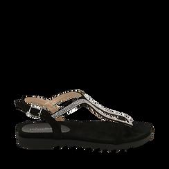 Sandali neri in microfibra con strass, Chaussures, 154928123MPNERO036, 001a