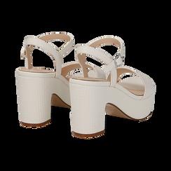 Sandali con plateau bianchi in eco-pelle, tacco 9 cm , Scarpe, 138402256EIBIAN037, 004 preview