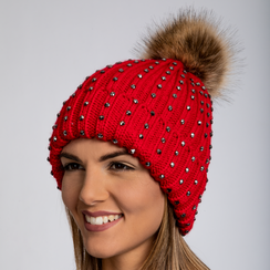 Berretto rosso in lana con strass e pon-pon, Saldi Abbigliamento, 12B409806TSROSSUNI, 002