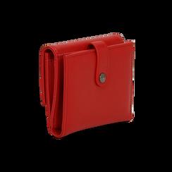 Portafoglio compatto rosso in ecopelle con 6 vani, Borse, 122200895EPROSSUNI, 004 preview