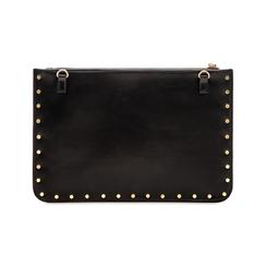 Clutch nera in ecopelle con profilo mini-borchie, Saldi, 123308330EPNEROUNI, 002 preview