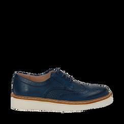 Stringate flatform blu in eco-pelle, Scarpe, 133009503EPBLUE036, 001a