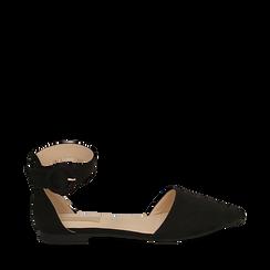 Ballerine noir en microfibre, Chaussures, 154841142MFNERO035, 001a