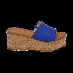 Ciabatte blu cobalto in microfibra, zeppa 7,50 cm , Zapatos, 154968121MFBLCO039, 001 preview