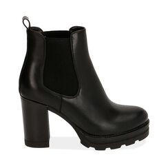 Chelsea boots neri, tacco 9 cm , Primadonna, 160622452EPNERO036, 001a