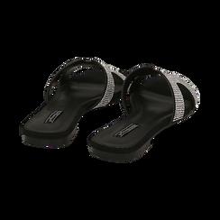 Ciabatte nere in microfibra con strass, Scarpe, 154983281MPNERO036, 004 preview