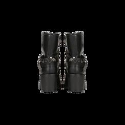 Biker neri con cinturino borchiato, Scarpe, 12A704320EPNERO, 003 preview
